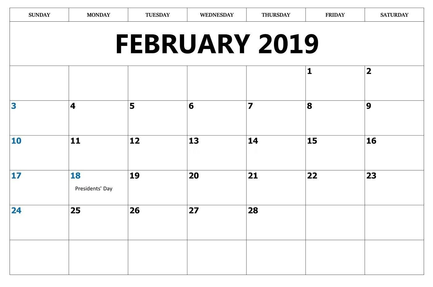 Free Download February 2019 Calendar With Holidays Free Online