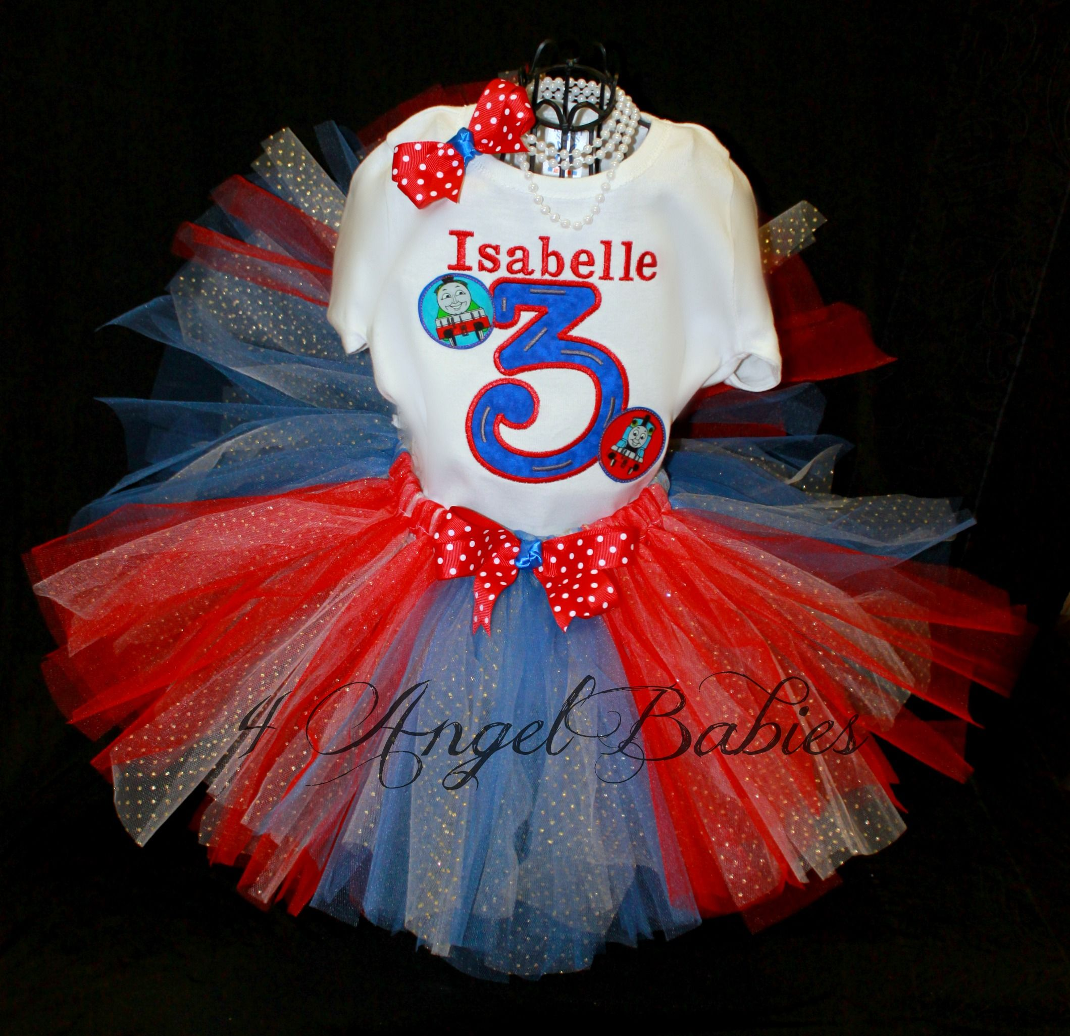 Personalized Thomas the Train Inspired Girls Birthday Tutu Outfit Red & Blue personalized with name, number and size. Includes hair piece, tutu, and top, shirt or onesie