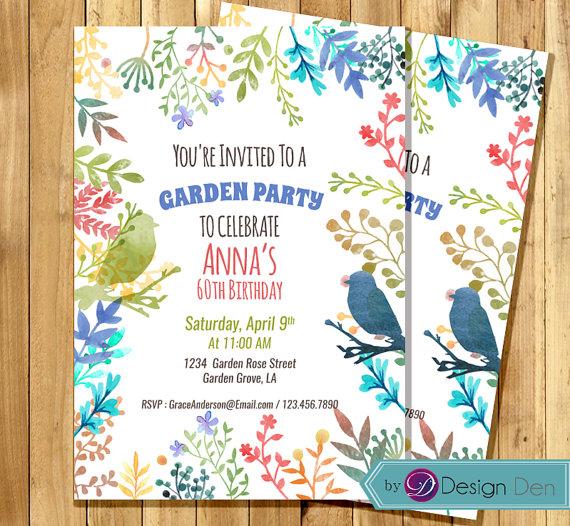 garden party invitation birthday invitation for woman water color