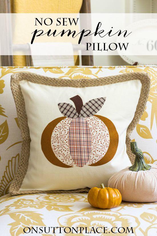 Diy No Sew Pumpkin Pillow Cover On Sutton Place Blog