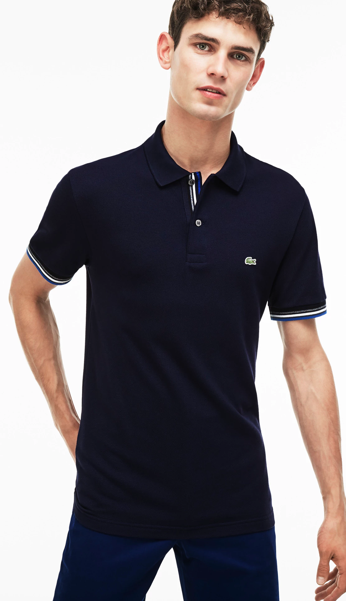623a008ac MEN S SLIM FIT PIPED TWO-PLY COTTON PETIT PIQUÉ POLO  NAVY BLUE ...