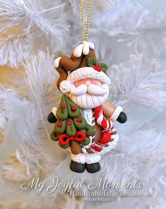 Manualidades Navidenas Con Arcilla.Handcrafted Polymer Clay Santa Claus Ornament Polimernaya