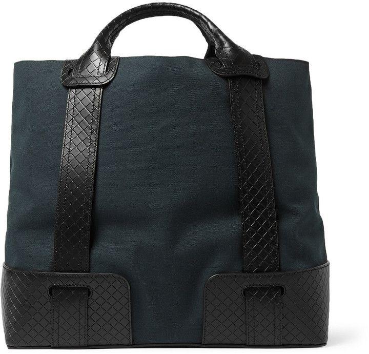 15826d352ea8 Bottega Veneta Canvas and Intrecciato Leather Tote Bag ...