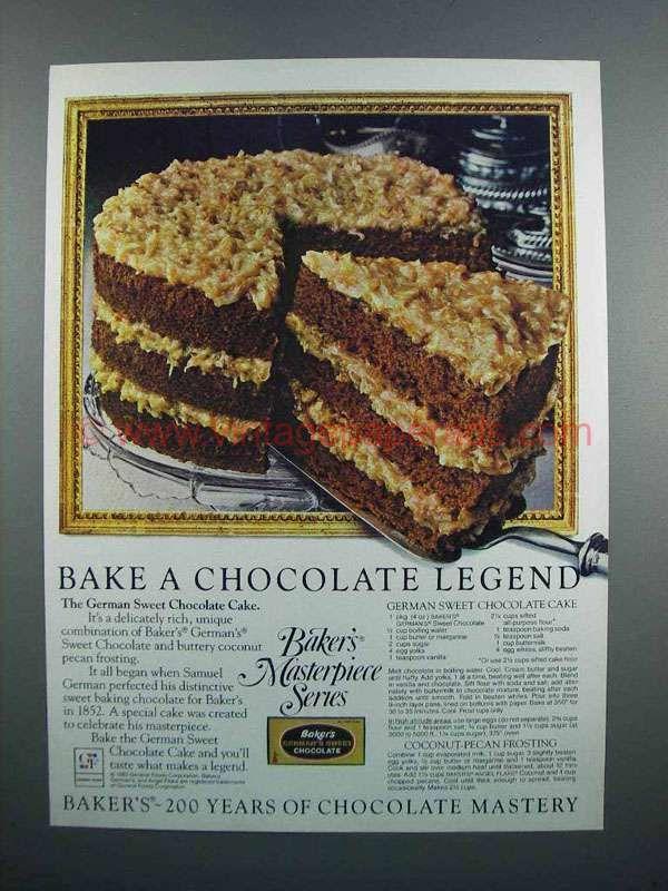 1983 Baker's German Sweet Chocolate Ad - Cake   Retro ...