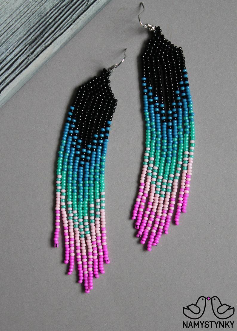 Blue pink beaded earrings seed bead earrings long ombre