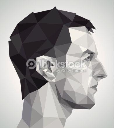 profile of young man in origami style abstrakt vektorgrafik grafiken haus vektor vektordatei