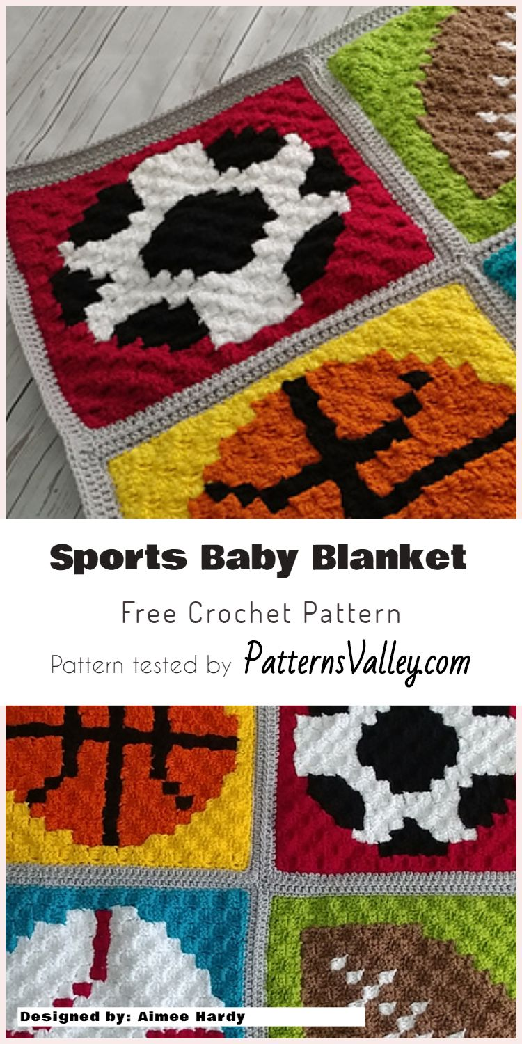 Adorable Crochet Sports Baby Blanket For Boy | Sports baby, Blanket ...