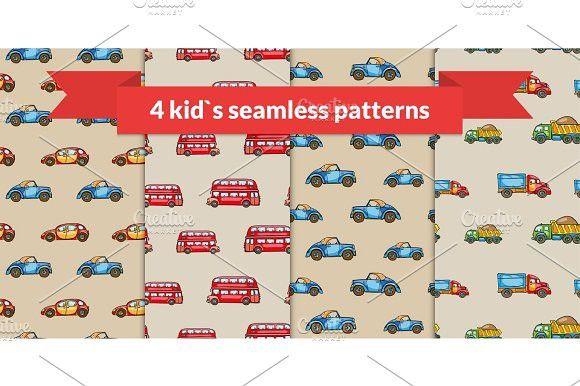 Child vector seamless pattern set. Hand drawn kids transport: retro car, red london bus, truck. Pattern Vectors. $5.00