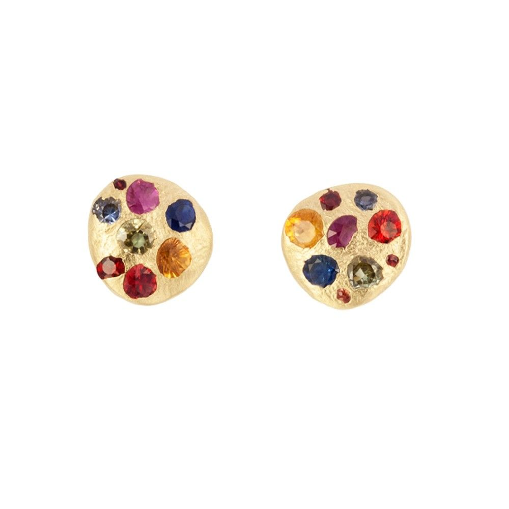 Polly Wales Tiny Rainbow Shire Disc Stud Earring