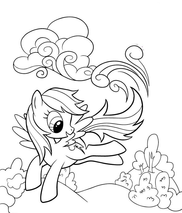 My Little Pony Coloring Pages Rainbow Dash Happy My Little Pony Coloring Horse Coloring Pages Unicorn Coloring Pages
