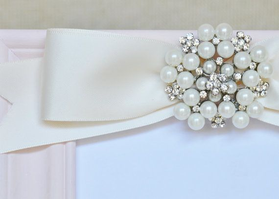Pink Picture Frame Embellished Pearl Rhinestone by GraceLillyHome, $60.00