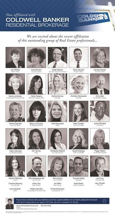 We are excited about this outstanding group of Real Estate professionals who affiliated in January. Welcome to Coldwell Banker Residential Brokerage! #ColdwellBankerArizona