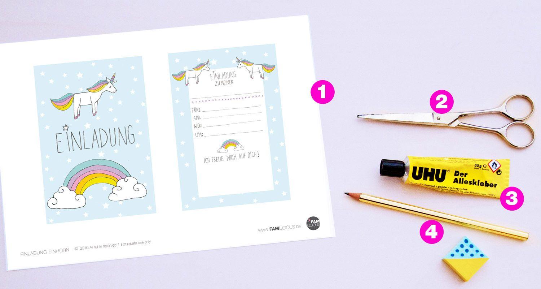 diy // einhorn-einladung zum kindergeburtstag - free printable, Einladung