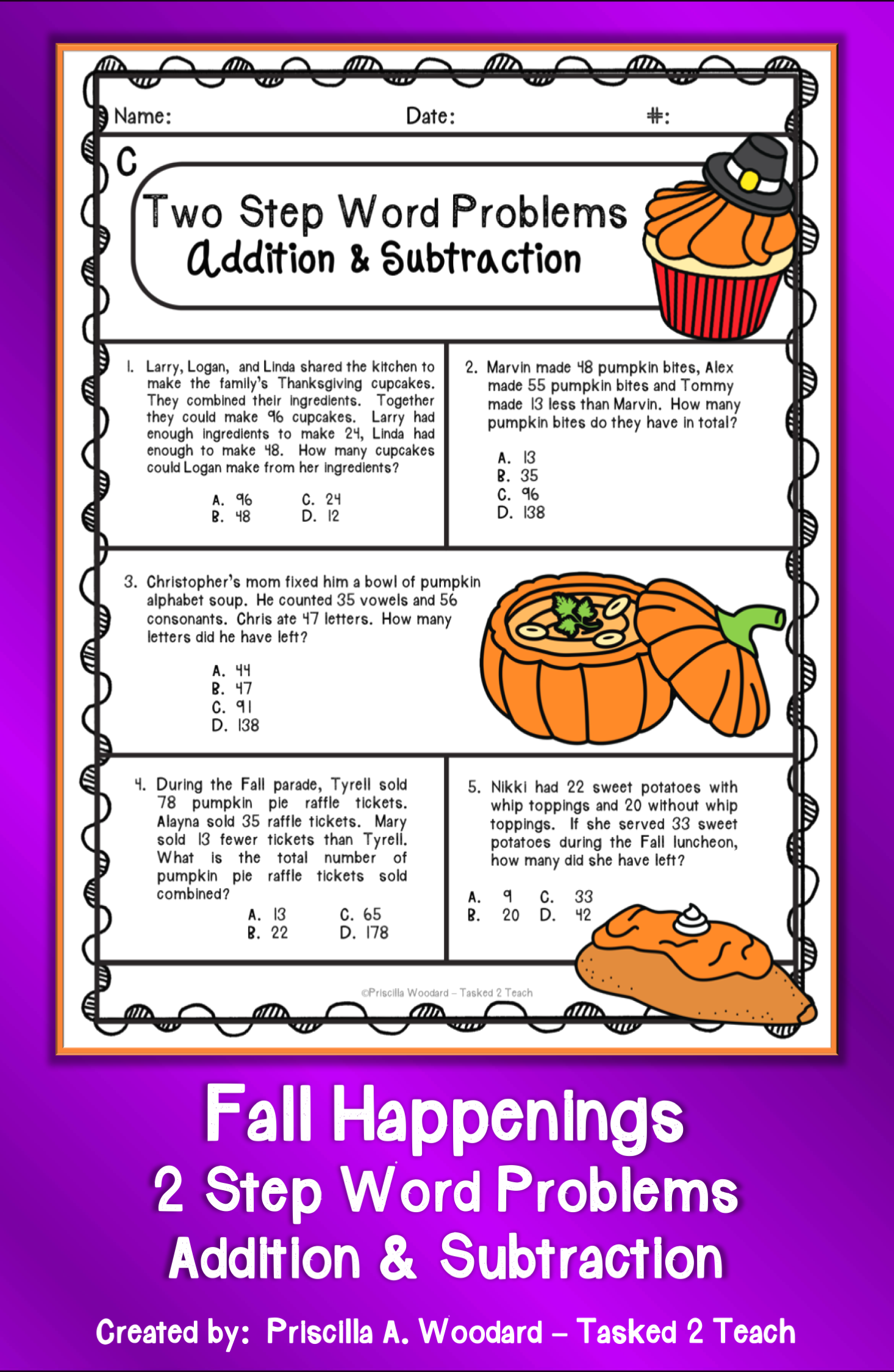 - Two Step Word Problems Addition & Subtraction Worksheets: Fall