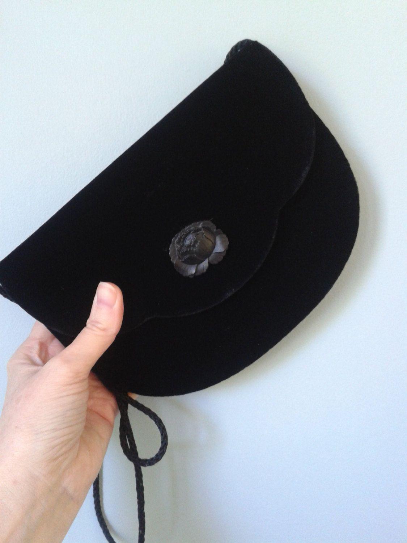 Black velvet type fabric vintage 1980s evening shoulder bag by DottysVintageFinds on Etsy