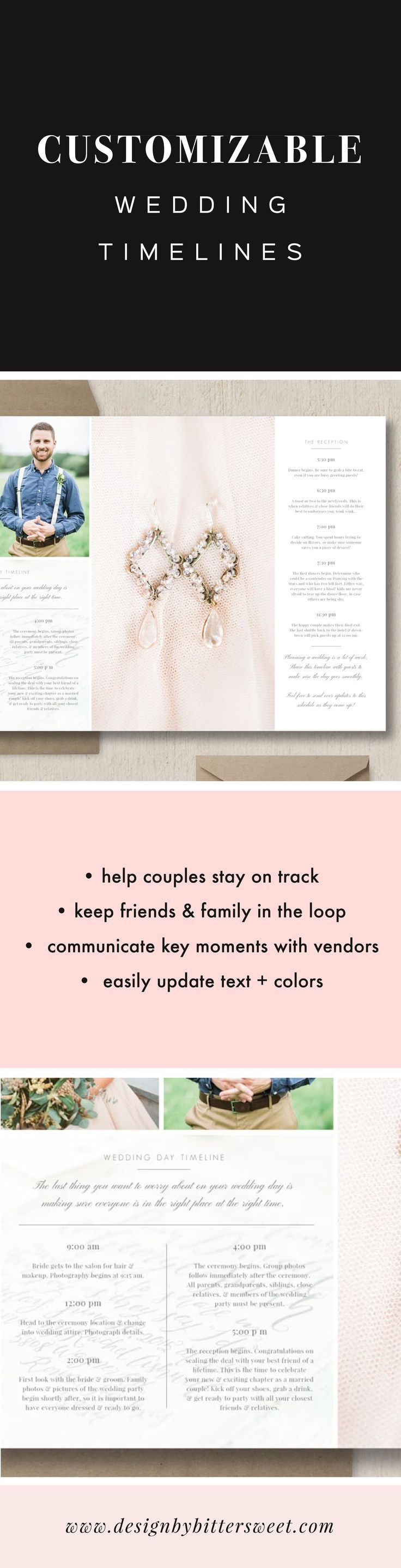 Wedding Day Timeline Template  Eucalyptus  Word Doc Timeline