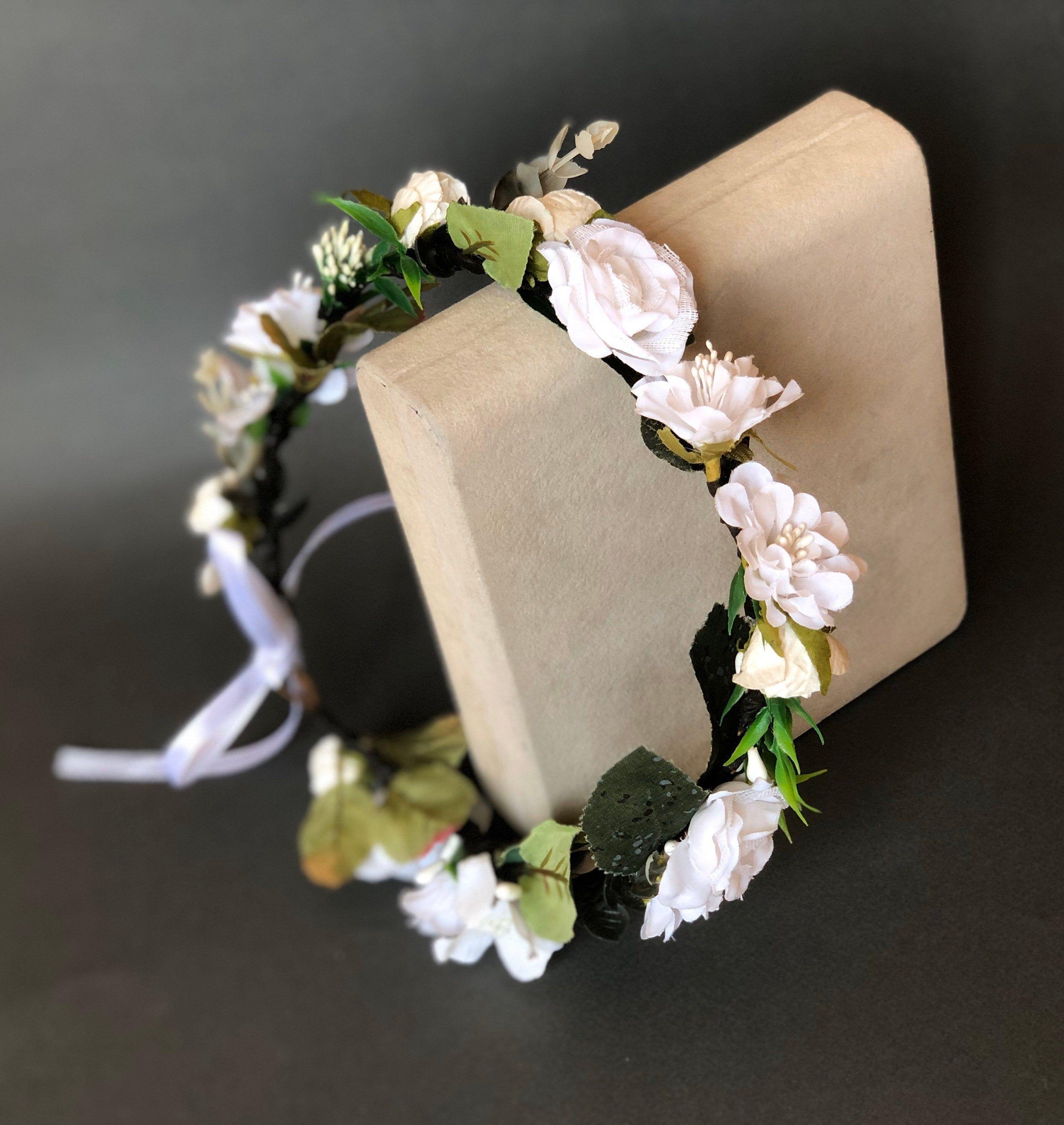 White flower crown wedding flower crown adult wedding flower head piece bridal flower crown boho bridal floral crown wedding flower headband