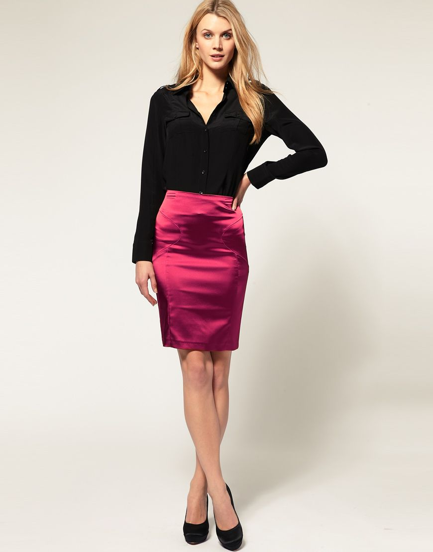 Asos metallic pink pencil skirt outfits i like pinterest