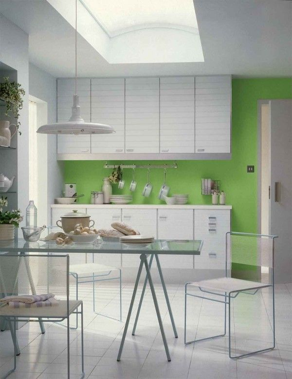 Unique decoration simple green kitchen interior ideas wite and green modern minimalist simple kitchen with dining