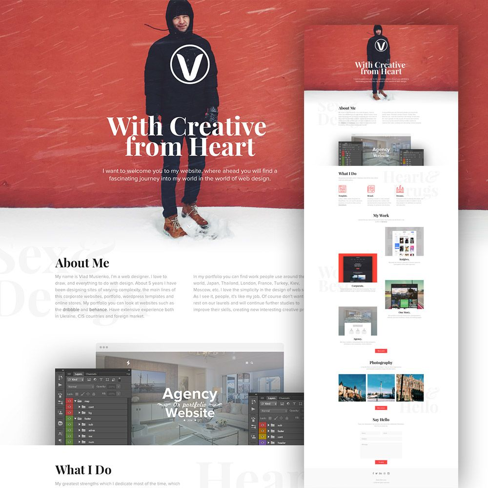 Pdownload Clean Personal Website Design Template Free Psd Use This