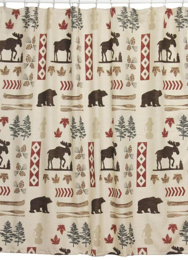 25 North Country Shower Curtain Moose And Bear Lodge Decor