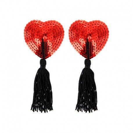 Cache tétons, coeur rouge,  sequins, de Paris Hollywood.