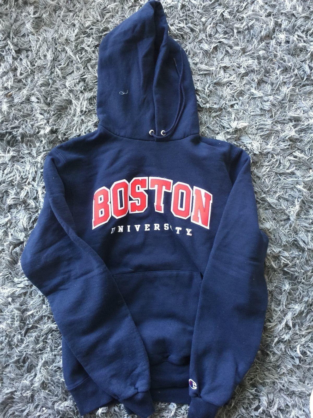 093133a0c330 VTG Boston University Blue Champion Reverse Weave Hoodie Sweatshirt Mens S