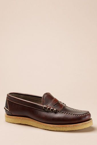 77d9eb55884 Men s Oak Street Bootmakers Brown Crepe Sole Beefroll Penny Loafer from  Lands  End Canvas