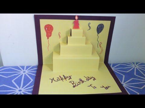 Happy Birthday Cake 2 Pop Up Card Tutorial Youtube Education