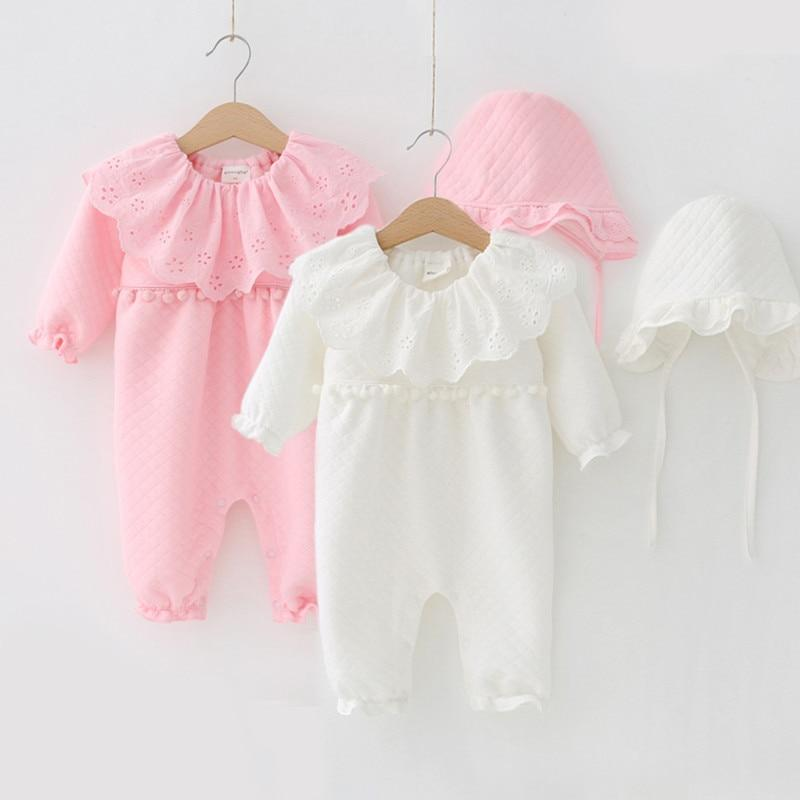 f6787917f Baby Girls Warm Cotton Rompers with Lace Collar and Ruffled Hat