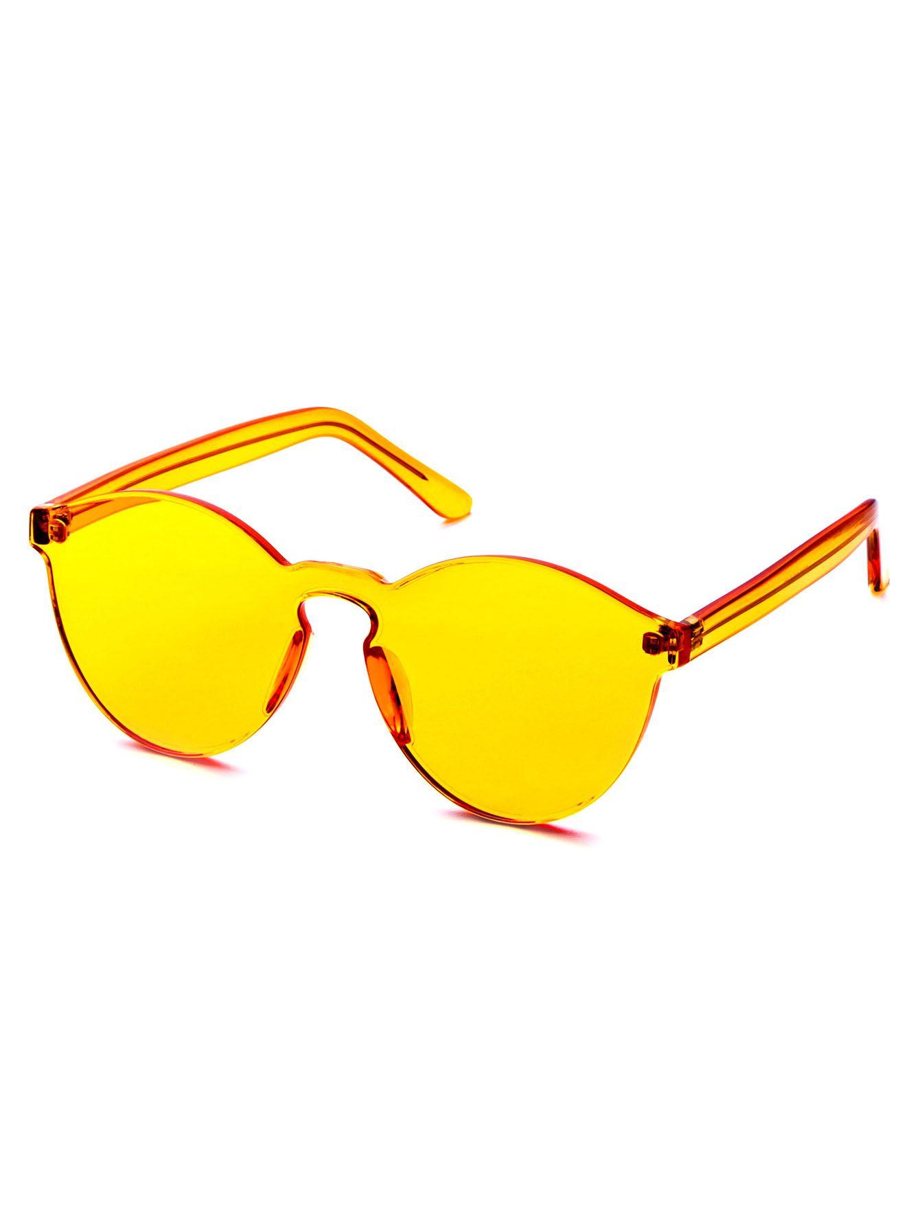 sunglasses offers online  Orange Clear One Piece Retro Style Sunglasses