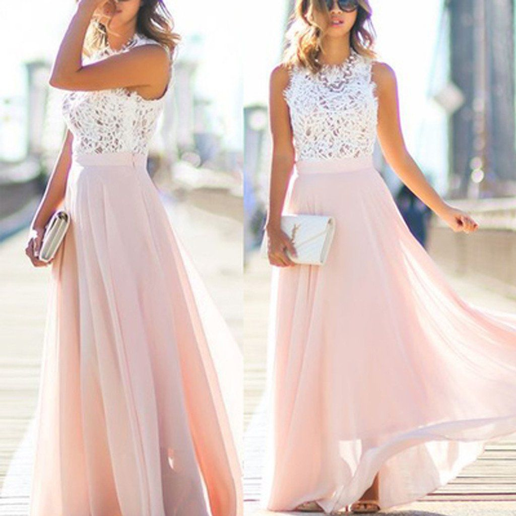 Online junior unique long prom dress light blush pink chiffon cheap