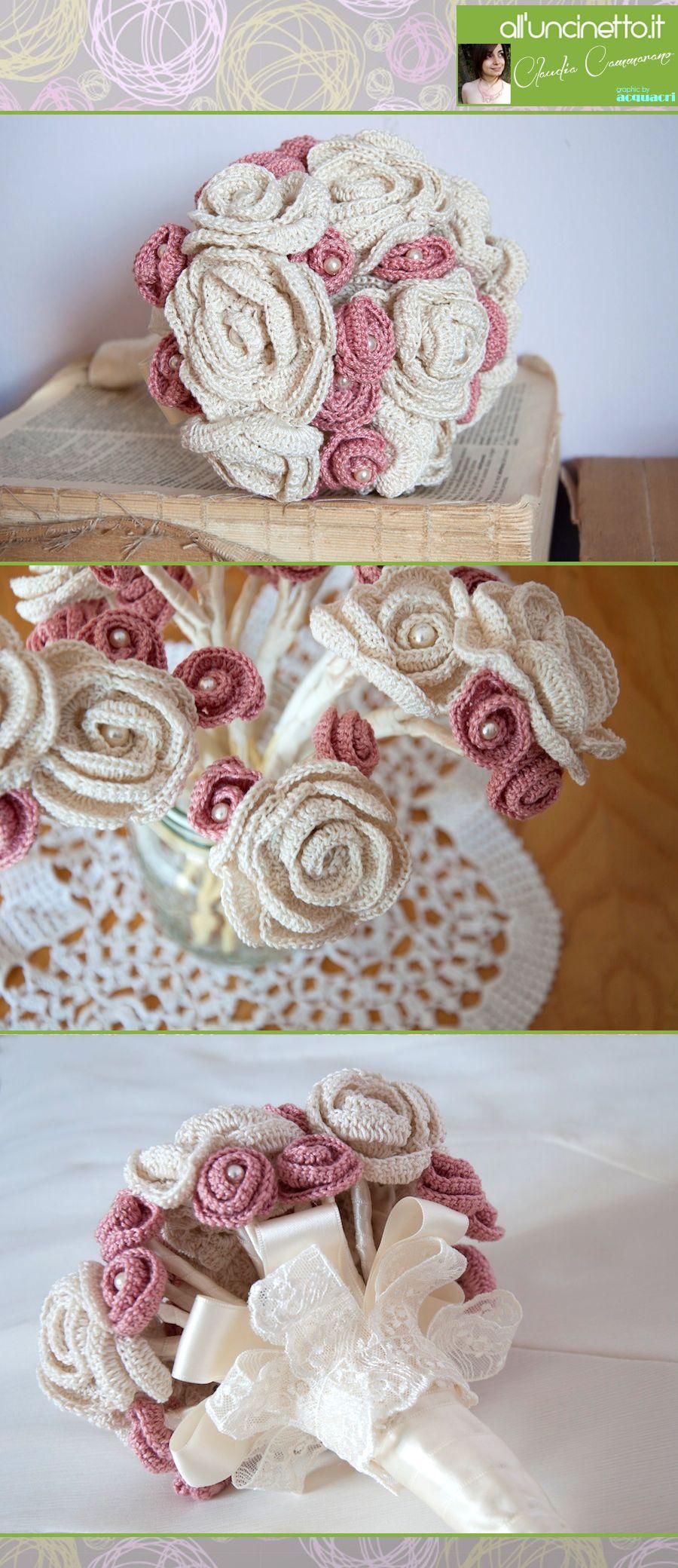 Bouquet Sposa Uncinetto Tutorial.Bouquet Con Fiori All Uncinetto Ispirazioni Uncinetto Crochet
