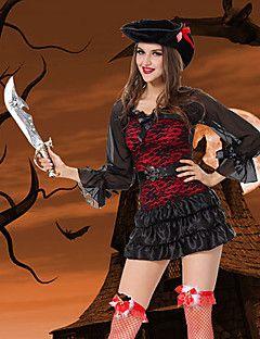 Vampiro estilo pirata Black & traje de Halloween da Red Mulheres Poliéster