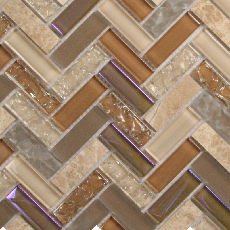oh so exciting! iridescent tile with beige and tan cracked glass