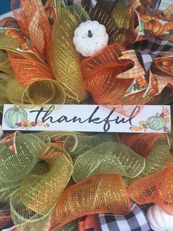 Thankful Fall Deco mesh wreath #decomeshwreaths