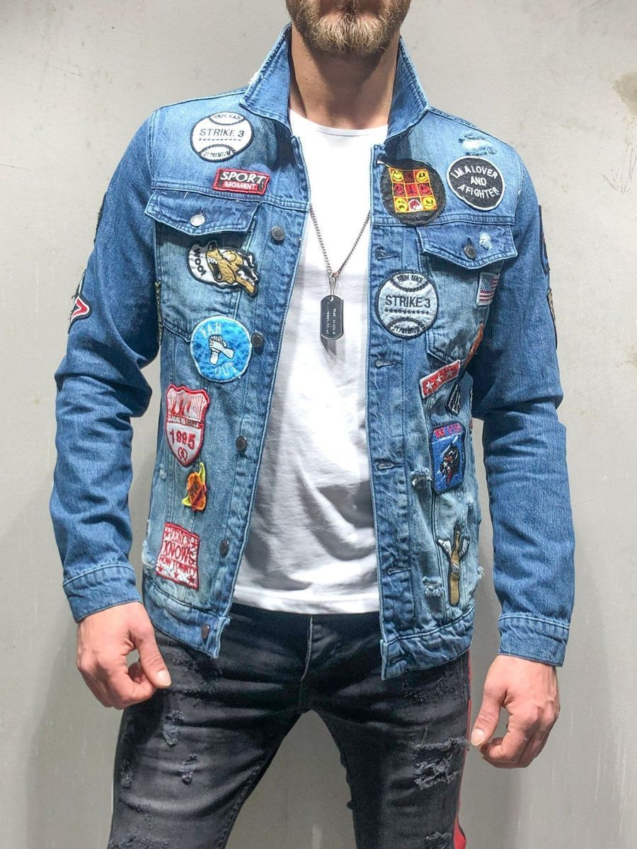 9b3e17d92 PRODUCT FEATURES: Men's Streetwear Denim Jacket, Jean Jacket, Ripped,  Embroidery Patches
