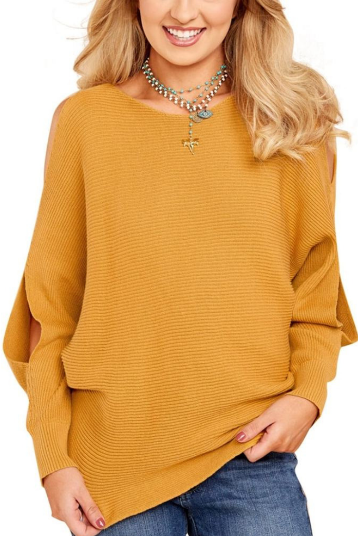 67fa8b4ef4 Most Wanted    Brighten up your fall ensemble as you slip into this  definitely superb mustard yellow cutout slit sweater.