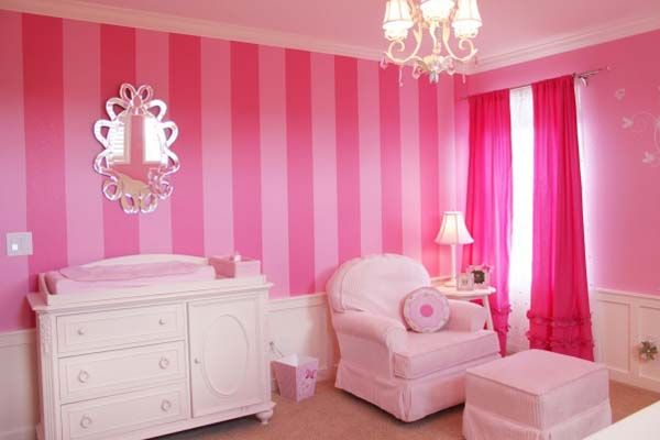 cute design for girls baby rooms with pink curtains ~ http