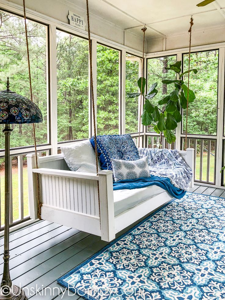 Front Porch Decorating Ideas With The Perfect Adirondack Chairs Our House Now A Home: Swinging Daybeds Are All The Rage Right Now, So Come See How We Decorated Our Back Porch With A