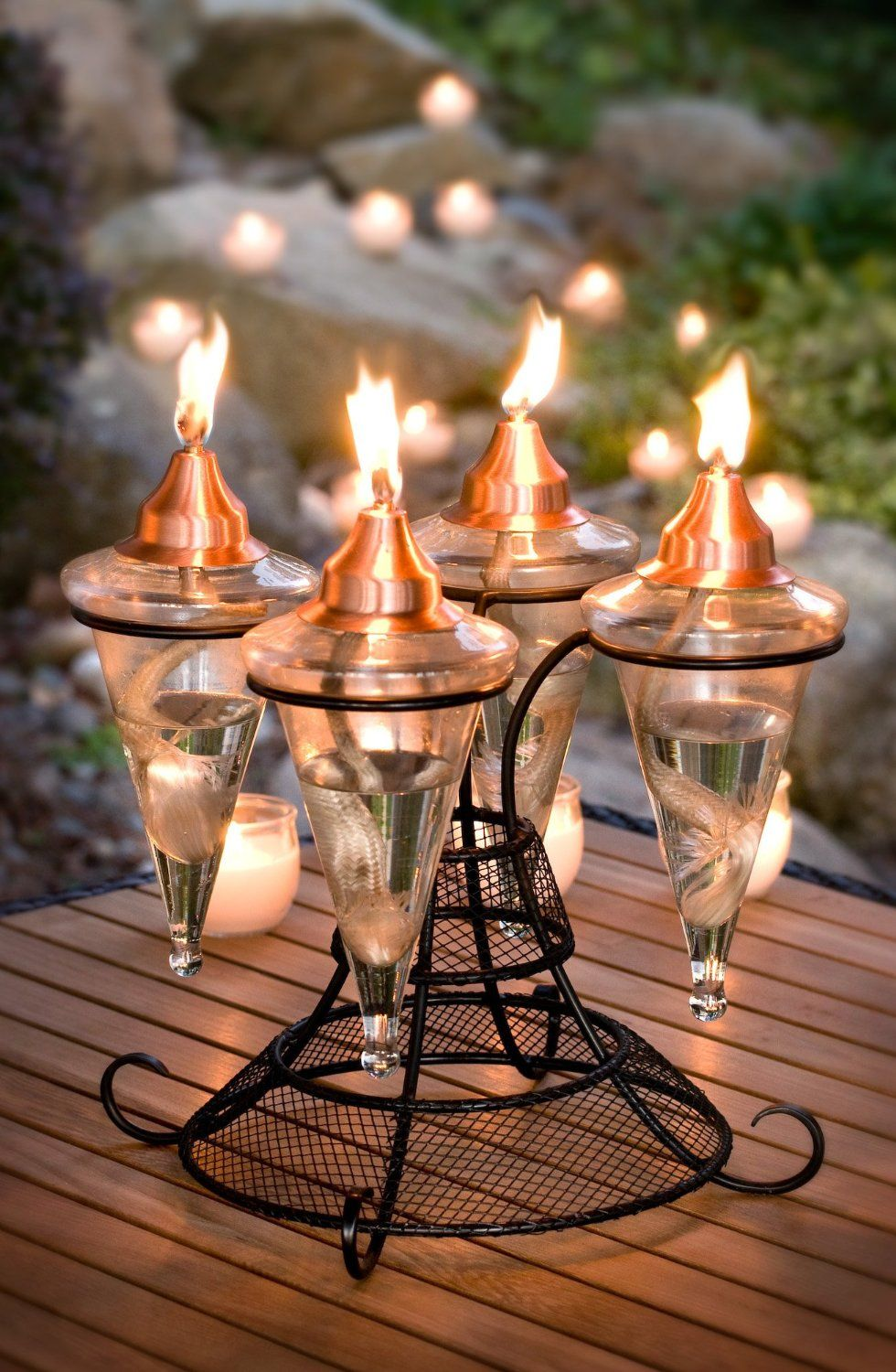 Amazon.com : H Potter Table Top Glass Torch : Outdoor Tabletop Lanterns :  Patio