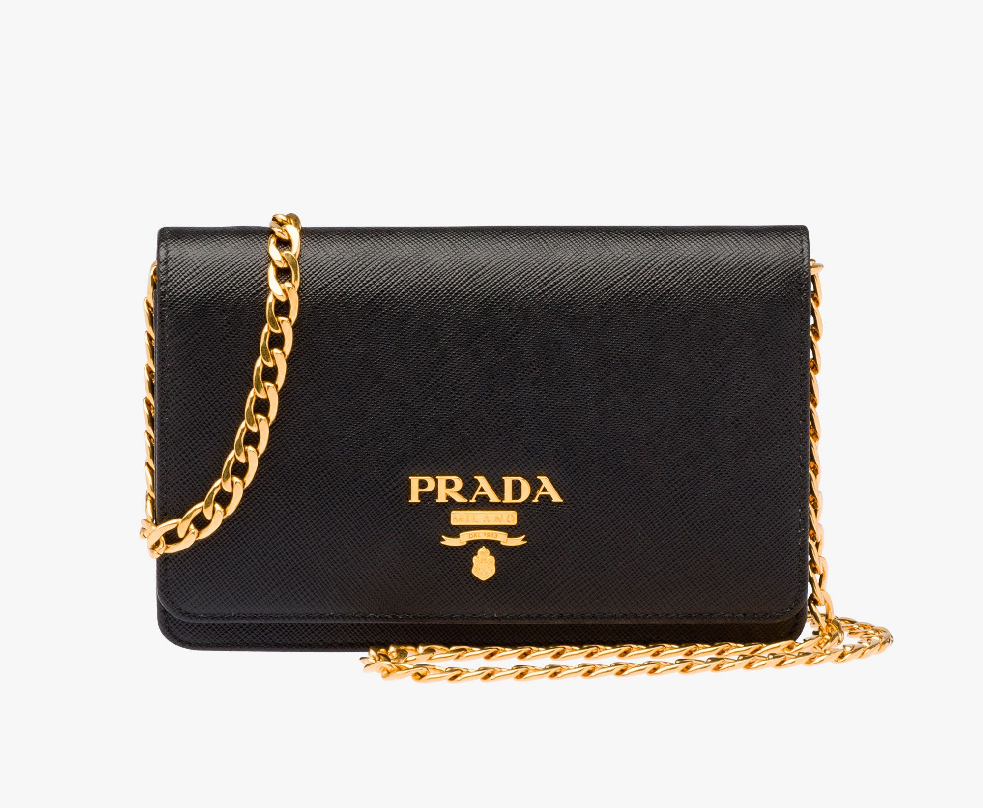 e09f878964 Small shoulder bag Metal chain shoulder strap Brass hardware Metal  lettering logo Small mirror underneath the flap One inside pocket with  zipper and several ...