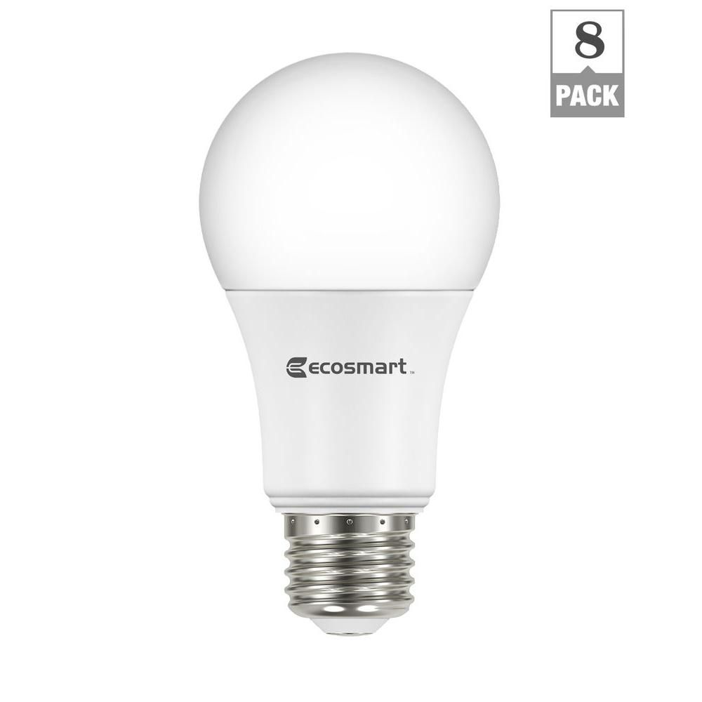 60-Watt Equivalent Soft White A19 Non Dimmable LED Light Bulb (8 ...