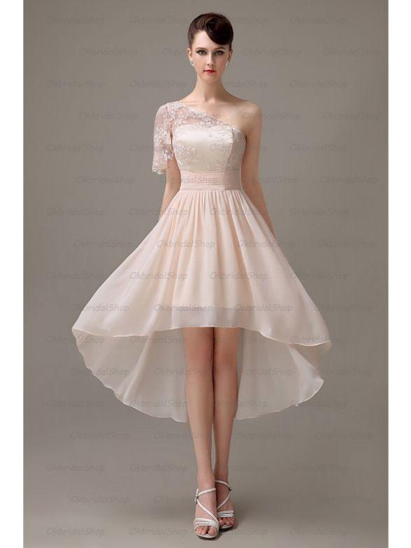 champagne one shoulder dresses bridesmaid