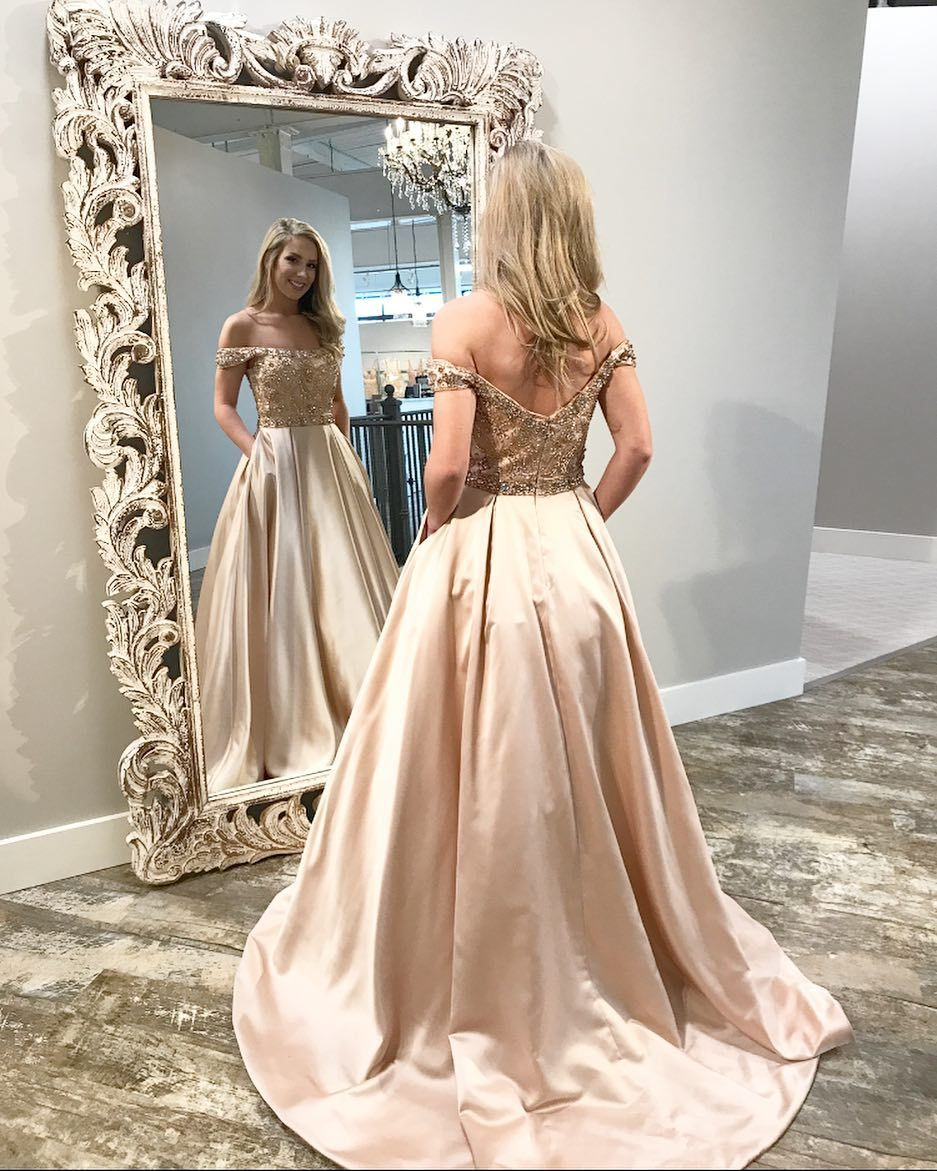 Off the shoulder champagne long prom dress with beautiful prom