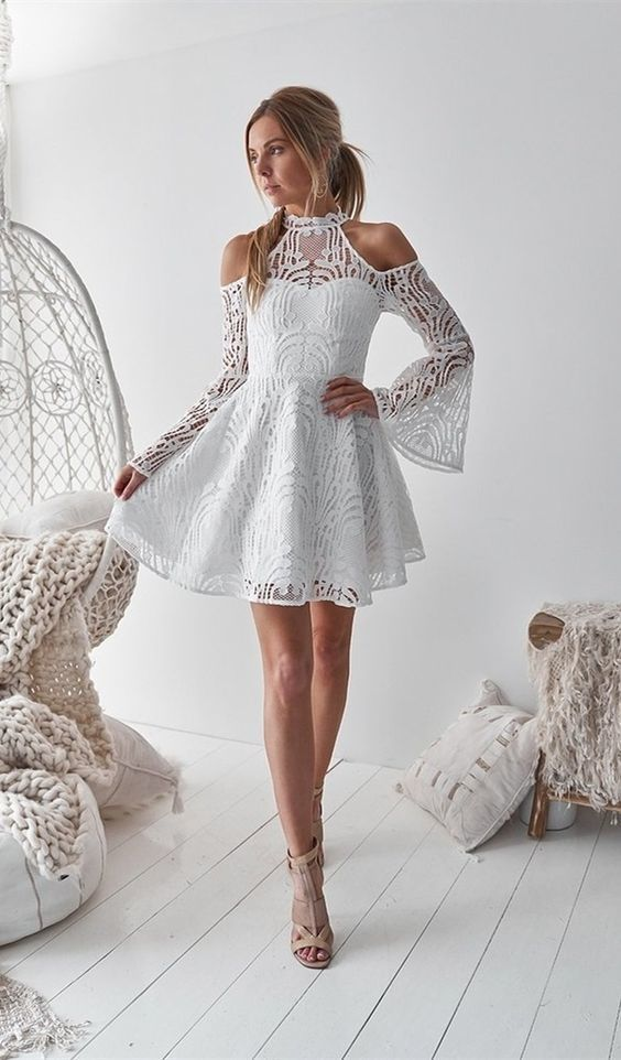 A-Line High Neck Bell Sleeves Cold Shoulder Above-Knee White Homecoming Dress C61