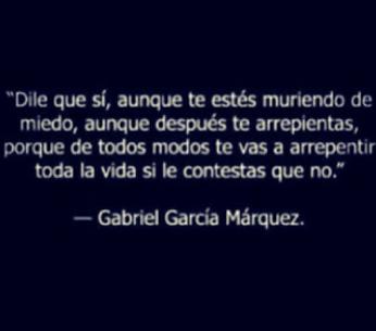 Dile Que Si Aunque Te Estes Muriendo De Miedo Aunque Despues Te Arrepientas Porque De Todos Modos Te V Dile Que Si Gabriel Garcia Marquez Arrepentimiento