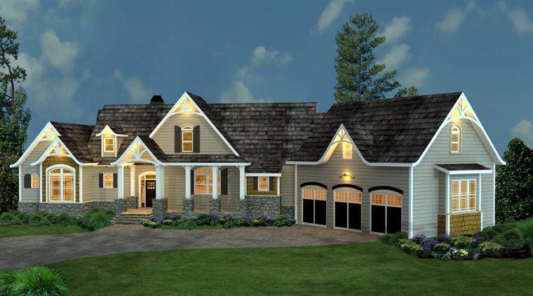 Tudor Style House Plan 98267 With 3 Bed 4 Bath 3 Car Garage Ranch Style House Plans Luxury House Plans Ranch House Plans