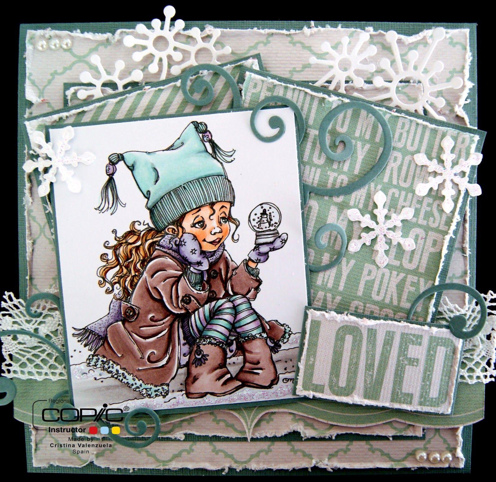 Skin: E00, E21, E11. Cheeks: E02. Hair: E51, E53, E55, E57. Floor: T1, T3. Snow: C1, C00 and Stickles. Gloves and scarf: V22, V25, V20. Hat: BG10, BG11, BG72, T3. Stockings: V01, V20, BG10, BG11, T3. Jacket and boots: E77, E74, E71, E70.