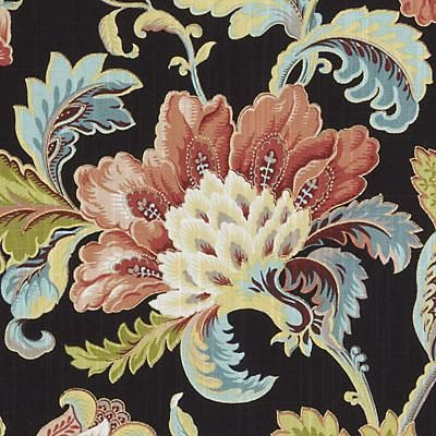 Superb floral large jet upholstery fabric by Duralee. Item DP61344-101. Low prices and free shipping on Duralee products. Strictly 1st Quality. Over 100,000 luxury patterns and colors. Width 54 inches. Sold by the yard.